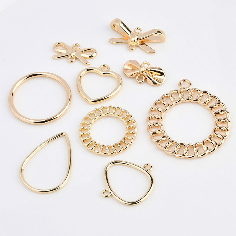 Geometric Simplified Alloy Double Hanging Bow Knot Round Peach Heart Drop Pendant DIY Earrings Earring Stud Material Package