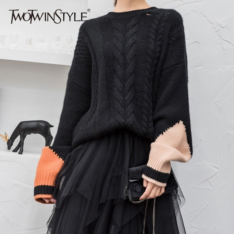 TWOTWINSTYLE Patchwork Knitting Sweater For Women Long Sleeve Hollow Out Hit Colors Pullover Female 2019 Autumn