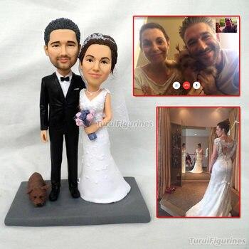 Ooak кукла из полимерной глины на заказ свадебный торт Топпер мистер и миссис торт Топпер Статуэтка невесты и жениха Миниатюрная кошка собака