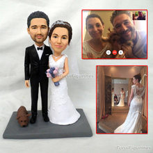 ooak polymer clay doll Custom wedding cake topper mr and mrs bride groom figurine miniature cat dog
