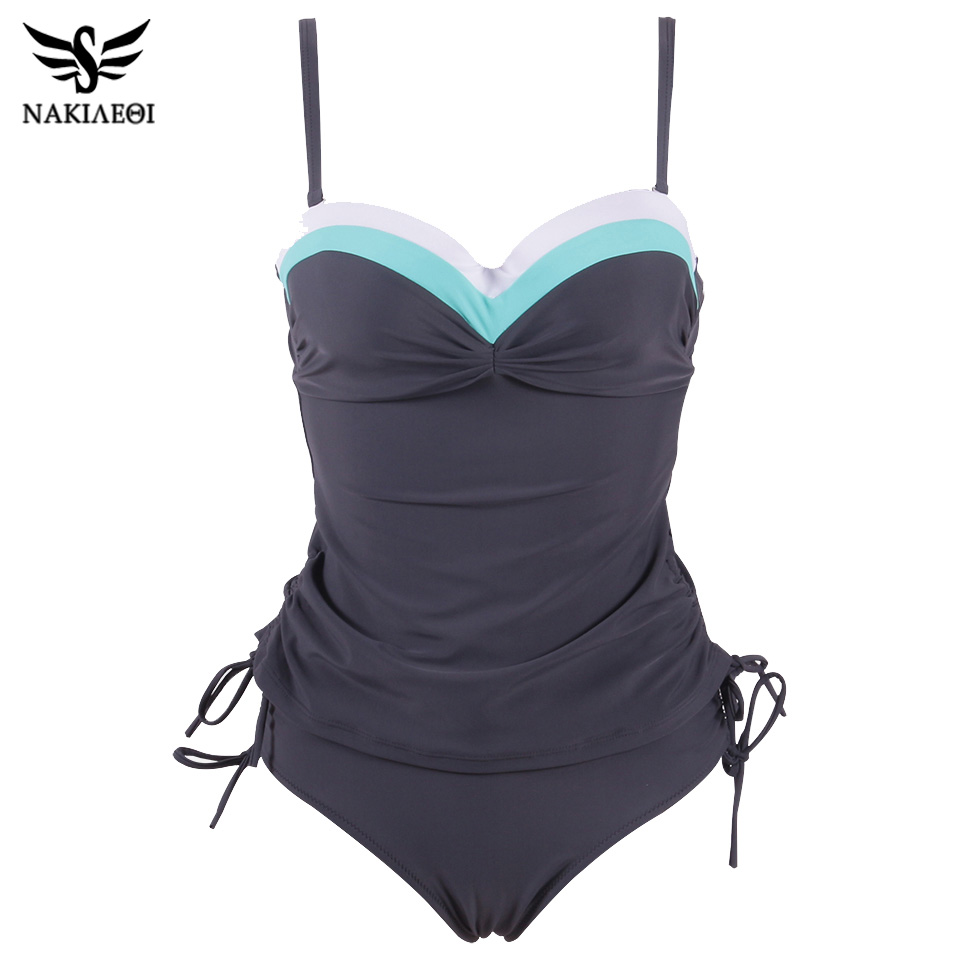 NAKIAEOI 2019 New Swimwear Women Swimsuit Push Up Tankini Set Vintage Retro Bandage Bathing Suits Beach Wear Plus Size Swimwear-in Body Suits from Sports & Entertainment on AliExpress