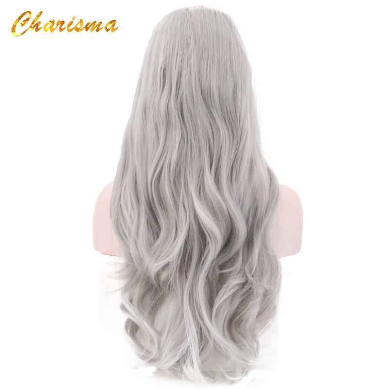 Peluca con malla frontal sintética carisma de 26 pulgadas de largo cuerpo ondulado peluca rubia sin pegamento de fibra resistente al calor pelucas para mujeres negras