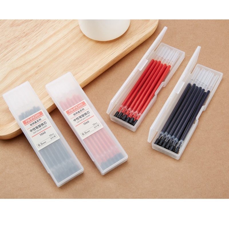 72 pcs/Lot Gel pen refill with storage box 0.5mm roller ball pens Black red blue color Wholesale Office school supplies gel roller ball pen black or chrome silver to choose baoer 3035 office and school signature pens free shipping