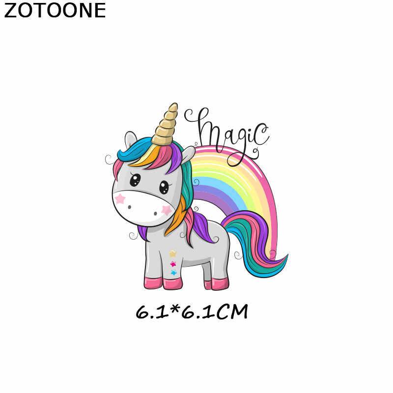 ZOTOONE, conjunto de unicornio, parches de hierro en la transferencia de ropa Diy, Parche de transferencia de calor para ropa para niña, camisetas, pegatina M