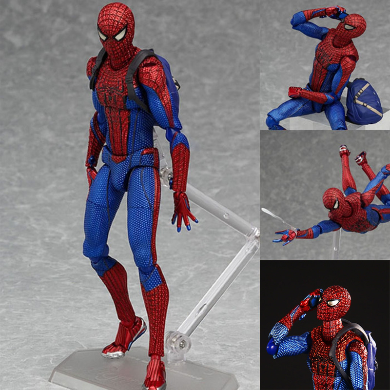 JueJue Spider man The Amazing Spiderman Figma 199 PVC Action Figure Toy Collectible Model Doll 15cm  free shipping 6 spider man the amazing spiderman boxed 15cm pvc action figure collection model doll toy gift figma 199