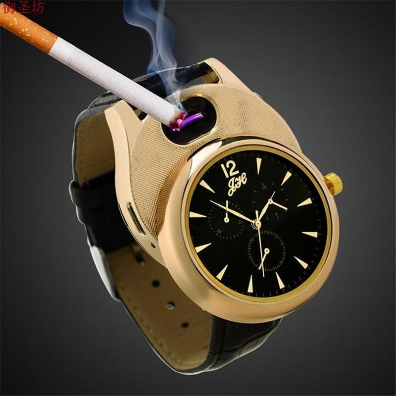USB Charging Men Arc Lighter Windproof Flameless Cigarette Cigar Lighter Watch Sports Clock Men Quartz Watch Army Saat Megir D46