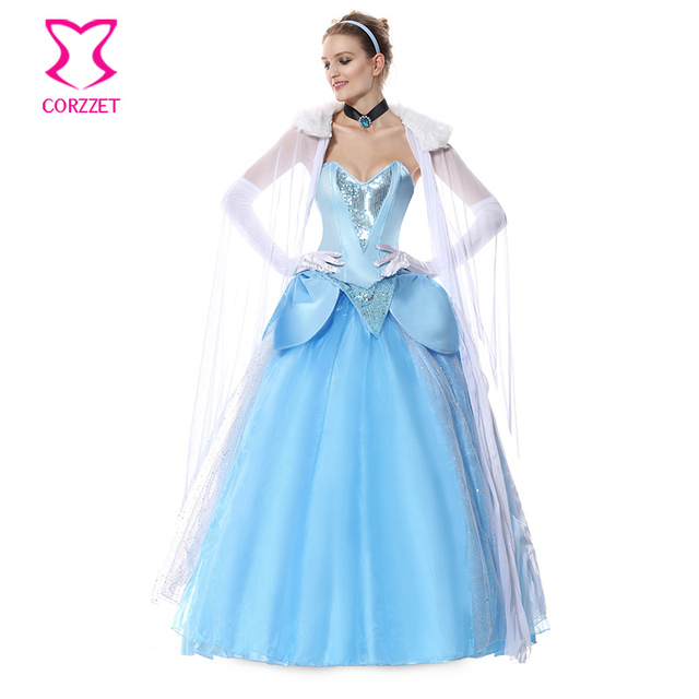 54983b267d Deluxe Blue Long Ball Gown Fairy Princess Fancy Dress Adults Cosplay Outfit  Sexy Cinderella Costume Halloween