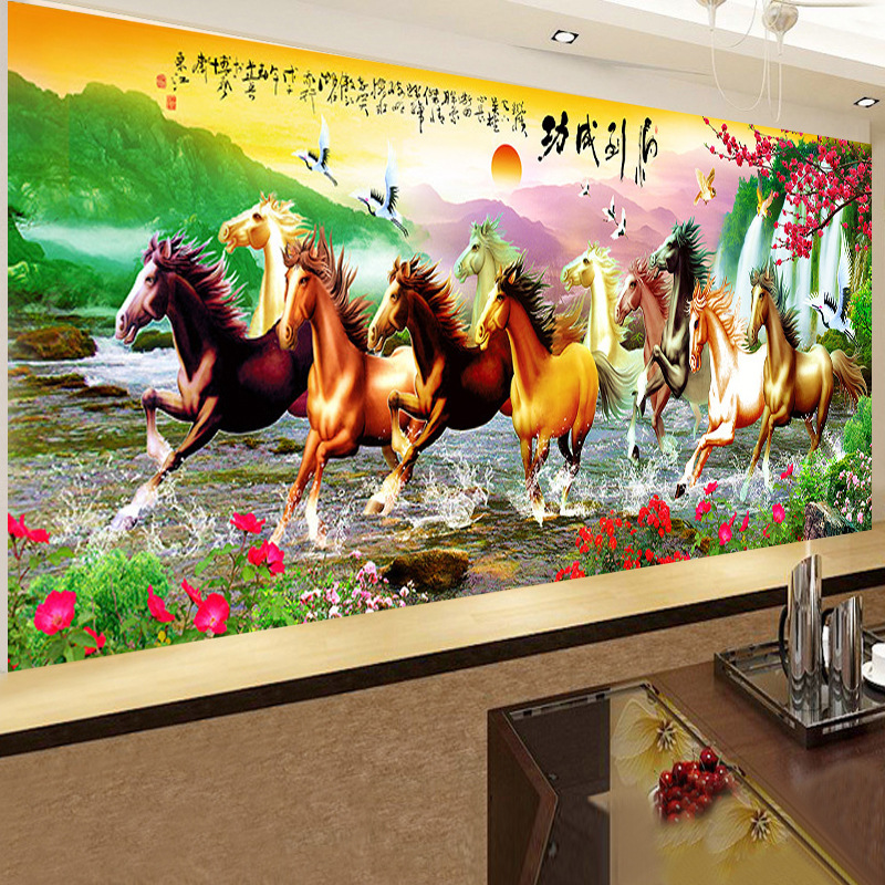 Full Sticker Round Diamond Embroidery 5d diy Diamond Painting Animal Eight Horse Needle Art Crafts Living Room Decoration