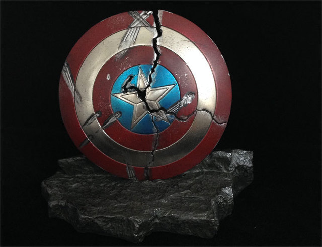 CUSTOM 1/6 scale Cracked Captain America Shield With Rock