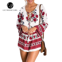 Boho Red Floral Print Women Jumpsuit Romper Summer Style Lace Up V Neck Sexy Playsuit 2016