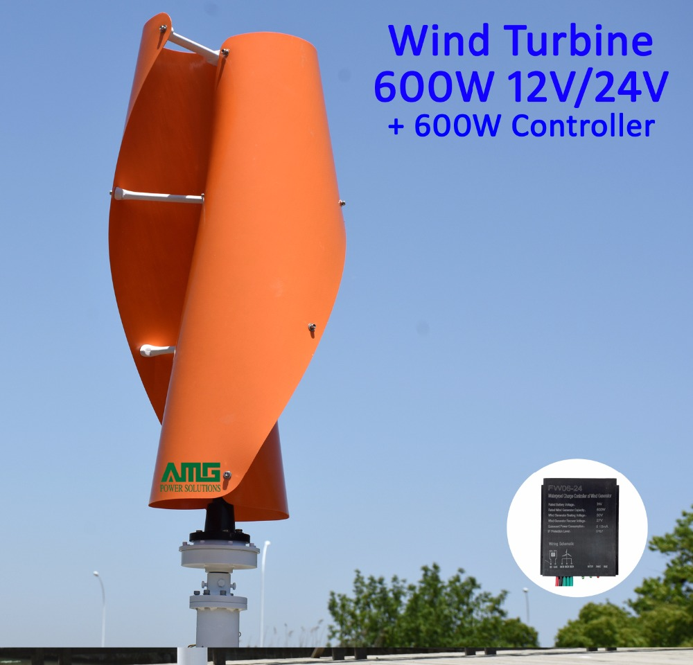400W500W600W 12V/24V VAWT Vertical Axis Residential Home use Wind Turbine Generator + QH 600W Waterproof Charger Controller 300watt 12v 24v residential vertical axis wind turbine wind mill generator