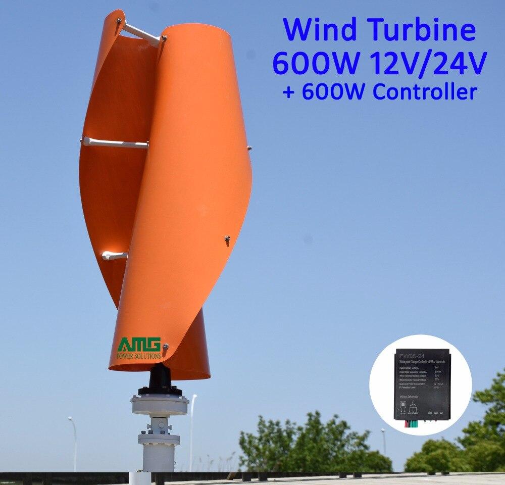 Generador de viento Maglev de 600 W 12 V 24 V VAWT eje Vertical bajo uso doméstico + QH 600 W controlador de cargador impermeable