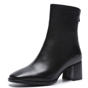 Image 2 - FEDONAS 2021 קידום מכירות חורף סתיו נשים מגפי פלטפורמות כיכר העקב קרסול מגפי עור פרה אופנוע גברת גבירותיי נעליים