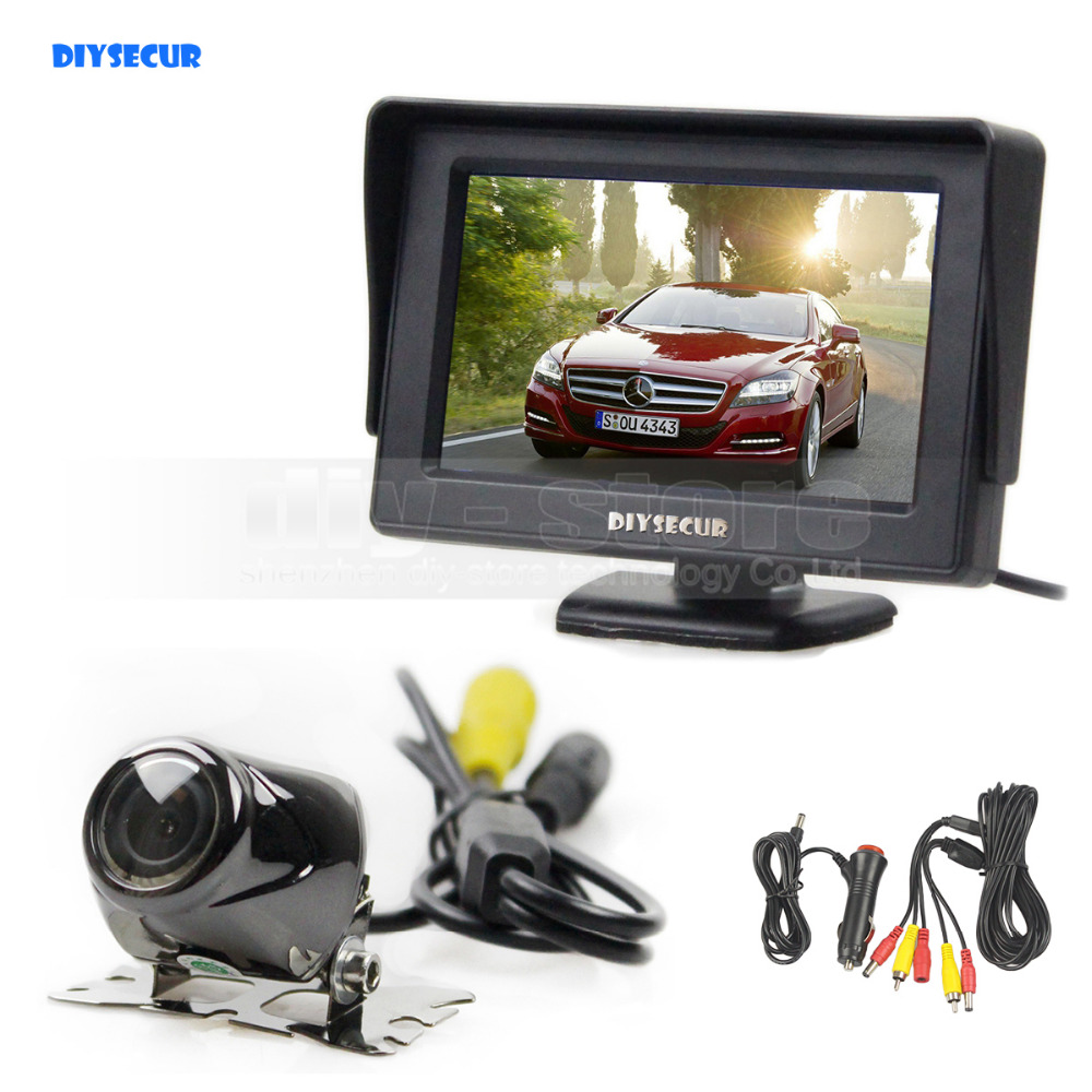 DIYSECUR Wired 4.3inch TFT LCD Video Car Monitor 2 Video Input + Car Camera Rear View Security System Parking Reversing System