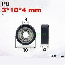 SWMAKER 3*10*4mm precisie miniatuur lager rubber katrol, Pu stille mul wiel, bankbiljet telmachine/medische apparatuur