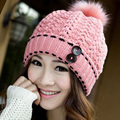 1 Pcs Free Shipping 2015 New 100%acrylic Warm Winter Knit Caps Women's Fashion Hats Wool Ball hats Multi-color