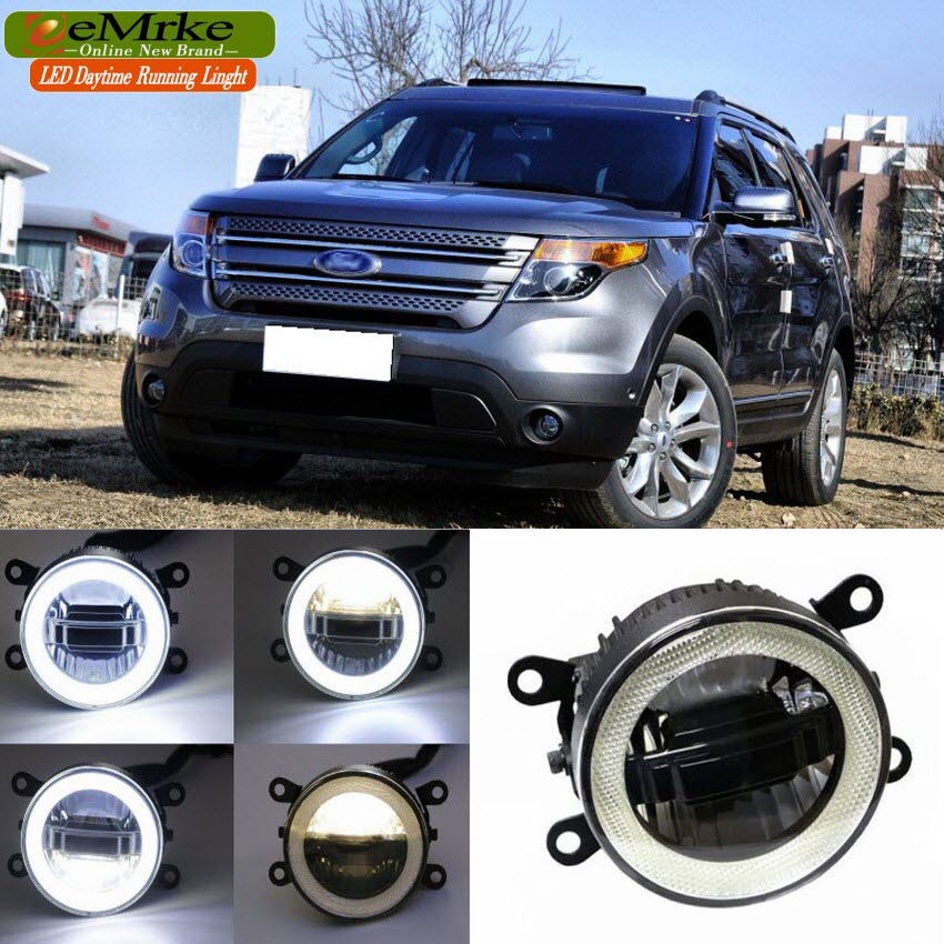 eeMrke For Ford Explorer 2013 2014 2015 3in1 LED DRL Angel Eye Fog Lamp Car Styling High Power Daytime Running Lights Accessory eemrke car styling for ford explorer 2013 2014 2015 2 in 1 led fog light lamp drl with lens daytime running lights
