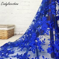 1 Yard Đa Pháp Organza Vải Ren Châu Phi Vải Tuyn Hoa Thêu Ren Lưới Trong Suốt Vải Cho Váy Cưới May DIY