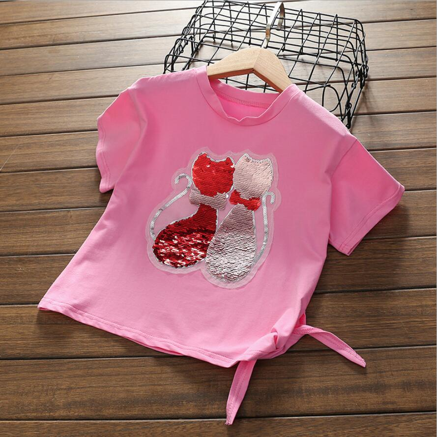 6 7 8 9 10 11 12 13 years girl change color Fashion Style cat Sequins Girls pink T-shirts 2018 Cotton Summer Tshirt For Kids женская футболка other 2015 3d loose batwing harajuku tshirt t a50