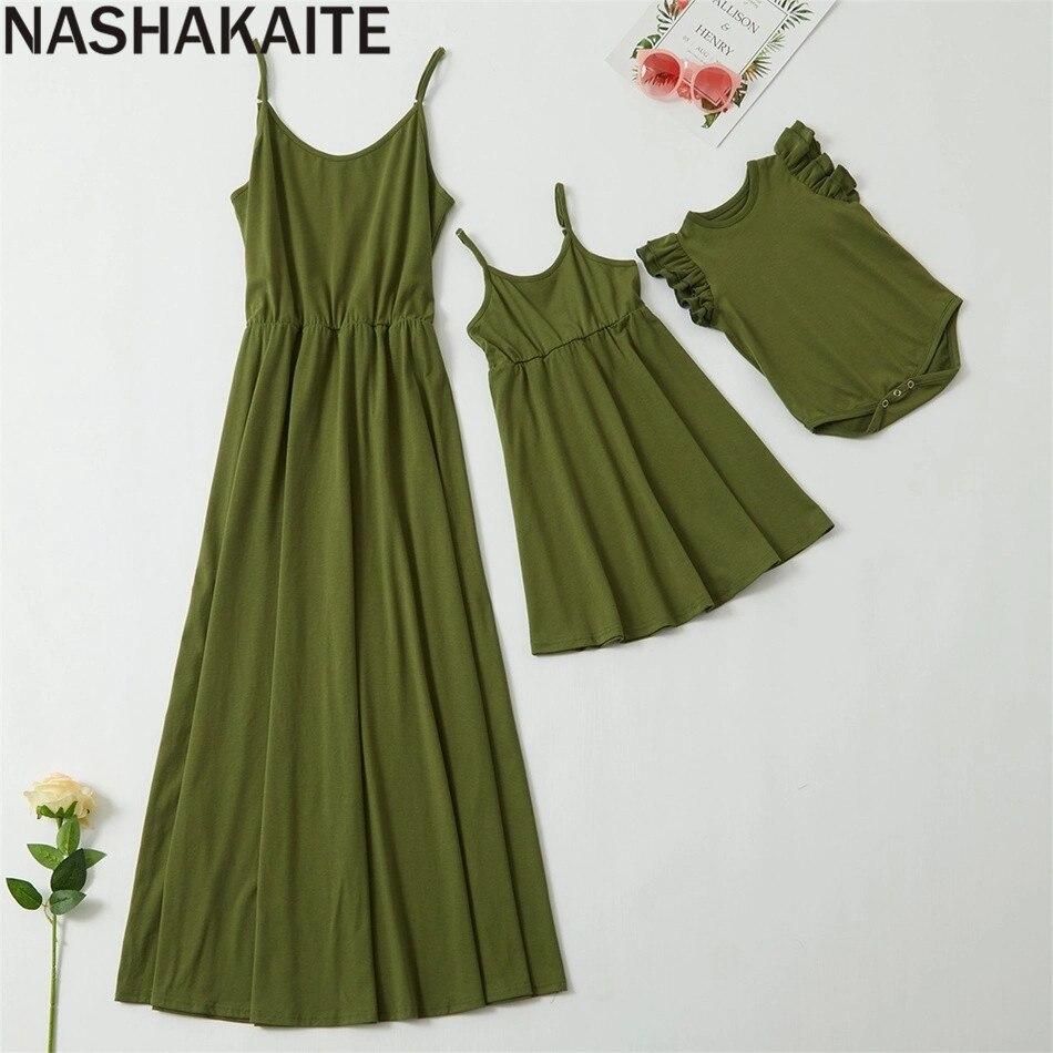 Family Clothing Dress Daughter-Dresses Mom NASHAKAITE NEW And Army-Green Spaghetti-Strap