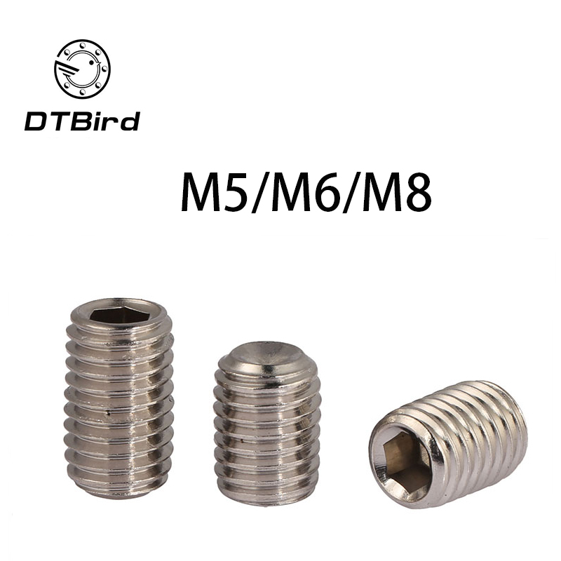 DIN916 304 stainless steel set screws Concave hex socket Chimi M5 M6 M8 screw headless Top wire machine 2017 hot sale 304 stainless steel set screw black inner hexagon hex socket cup end m top thread headless screw bolt m5 5 6 8 10 12