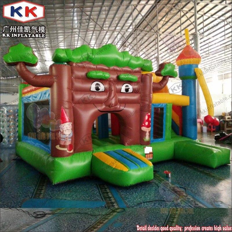 Parcours d'obstacles gonflable de maison de rebond de château plein d'entrain de Jungle de noël d'enfants, combo gonflable de videur