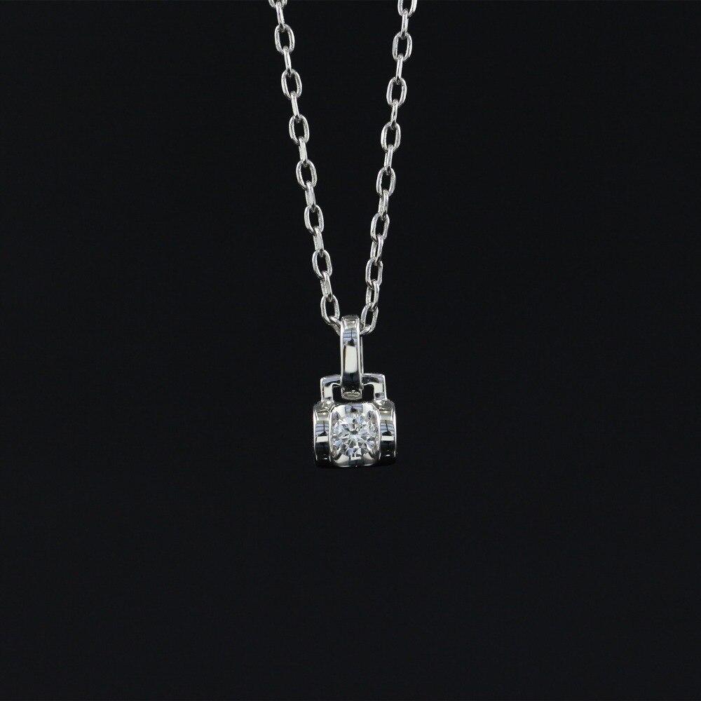 LASAMERO 0.104CT Halo 18 k Ouro Rodada Cut Centro Quadrado Conjunto Pave Naturais Mulheres Cadeia Colar de Pingente de Diamante Fine Jewelry
