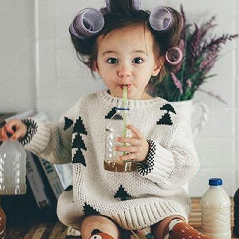 2017 New KIDS Boy Girls Sweater Thick Triangle Vintage Sweaters Bobo Style Baby Girls Clothes Jumper Spring Autumn Kids Costume