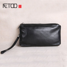 AETOO Mens Clutch Bag Mens Leather Large Capacity Retro Casual Top Layer Cowhide Long Wallet Soft Leather Phone Case