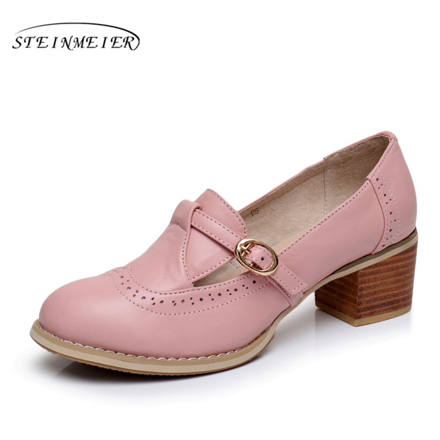 Genuine leather big woman shoes US size 9 designer vintage High heels round toe handmade pink