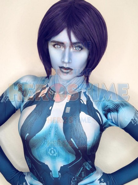 Halo Costume Video Game Girl Cortana Cosplay party Suit 3D Printed Lycra Halloween Zentai Bodysuit For Adult/ Kids/Custom Made image
