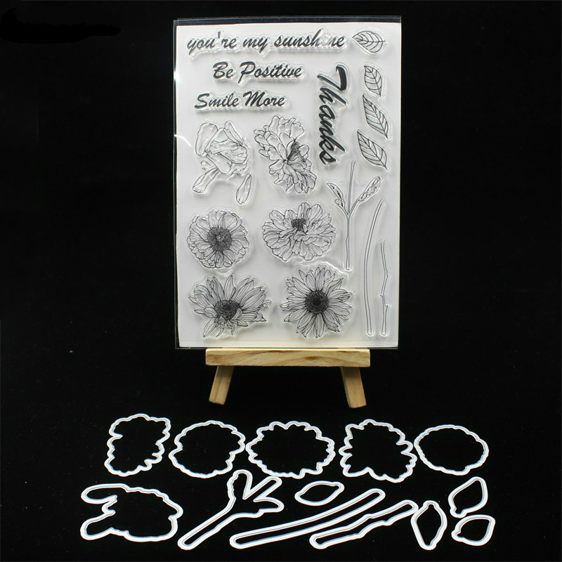 YPP CRAFT Sunflowers Transparent Stamp And Cutting Dies for DIY Scrapbooking/Card Making/Kids Fun Decoration Supplies цена и фото