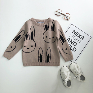 Image 2 - Ins Fashion Baby Girls Sweaters Boy Cartoon Rabbit Sweater Autumn Winter Kids Pullover Tops Cotton Knitwear For Girls Clothing