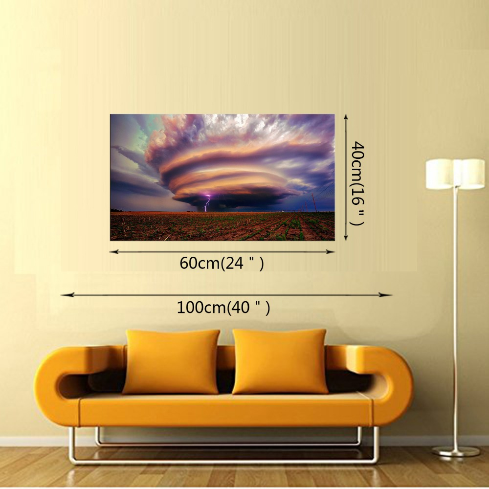 1 Panel Canvas Wall Art Picture Landscape Canvas Painting Lightning ...