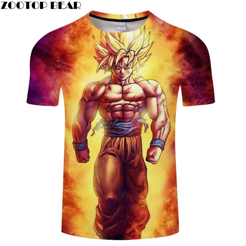Fire Goku 3D Print T Shirt Men Dragon Ball T-Shirt Summer Anime ShortSleeve Boy Tops&Tee Tshirts Camiseta Drop Ship ZOOTOP BEAR