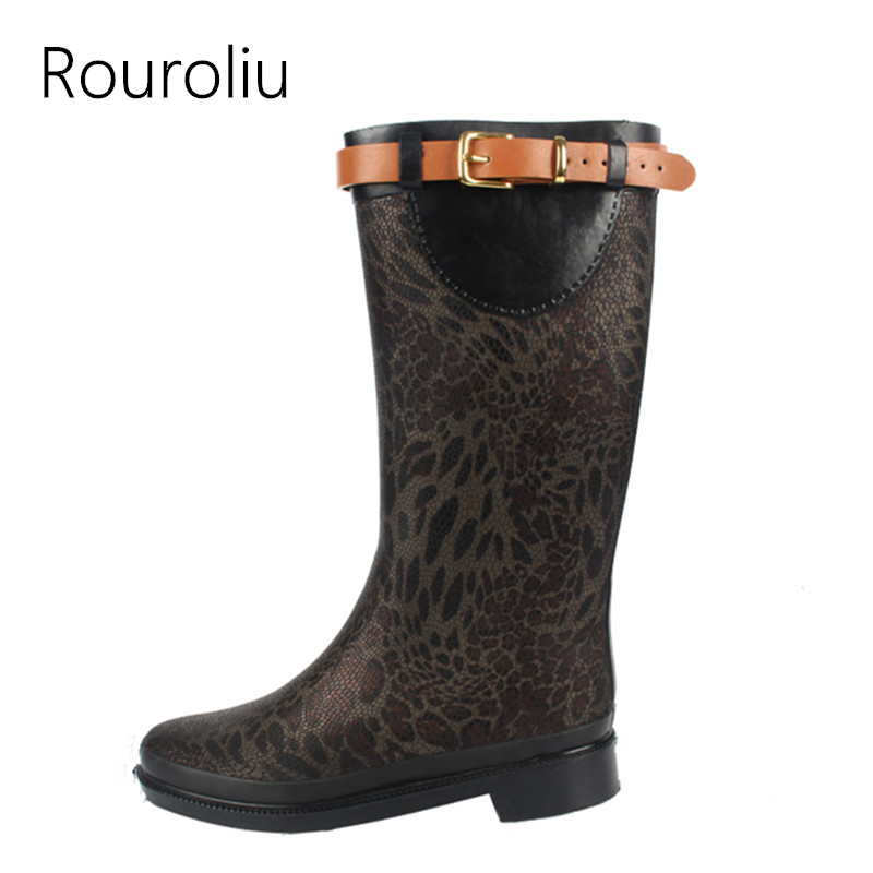 Rouroliu Women Belt Buckle Mid-Calf Rain Boots Waterproof Fabric Water Shoes Woman Non-Slip Wellies Slip-on RB11 buckle slip on wedges