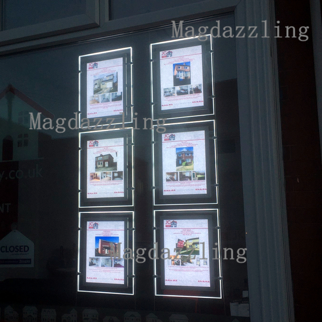 Attractive 6PCS Single Sided A3 LED Window Display System Real Estate Agent Hanging  Acrylic Poster Frame LED