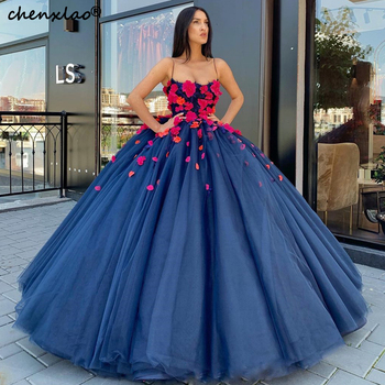 Spaghetti Strap Ball Gown Evening Dresses Long 2019 Strapless 3D Flower Floor Length Formal Evening Dress Vestidos