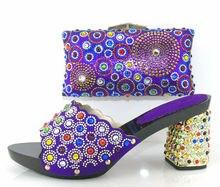 2016 neueste Kommende Elegante Frau Schuhe und Tasche Set Italienische stil High Heels Schuhe Und Taschen Für Party Kleid Lila farbe