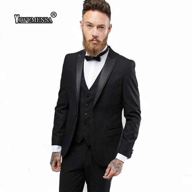 Yiwumensa Latest Coat Pant Designs Shawl Lapel Black Men Suits For