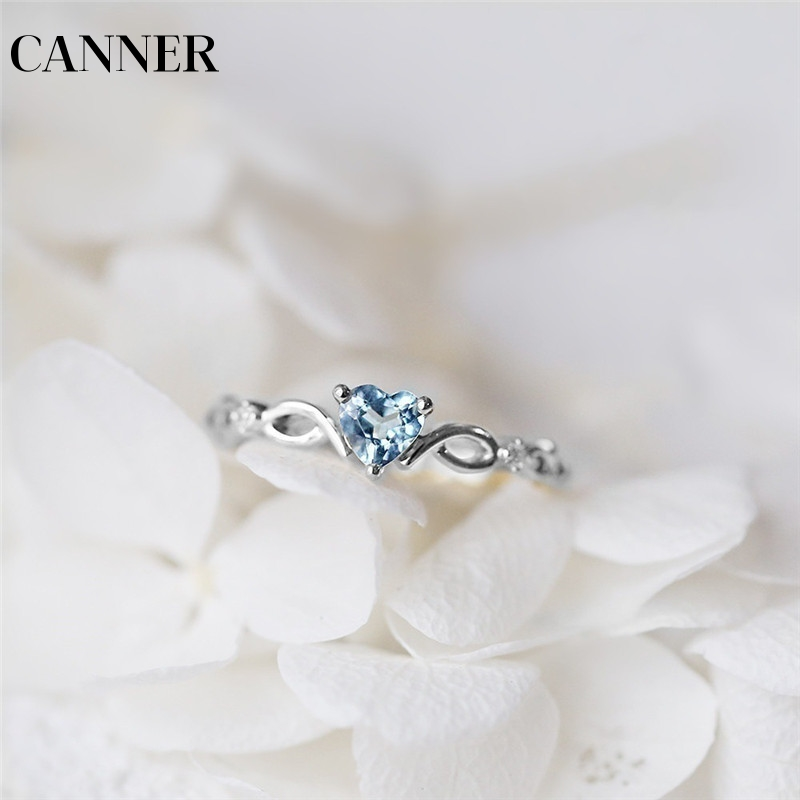 Canner Heart Shaped Dainty Wedding Ring For Women Bridal Silver Plated Red Green Blue Crystal Engagement Zircon Rings Jewelry R4 For Fast Shipping