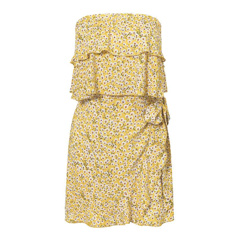 Женское богемное летнее платье с цветочным принтом, Женские Повседневные Вечерние платья с рюшами, женские пляжные платья с бантом, короткие сексуальные платья без бретелек, Vestido