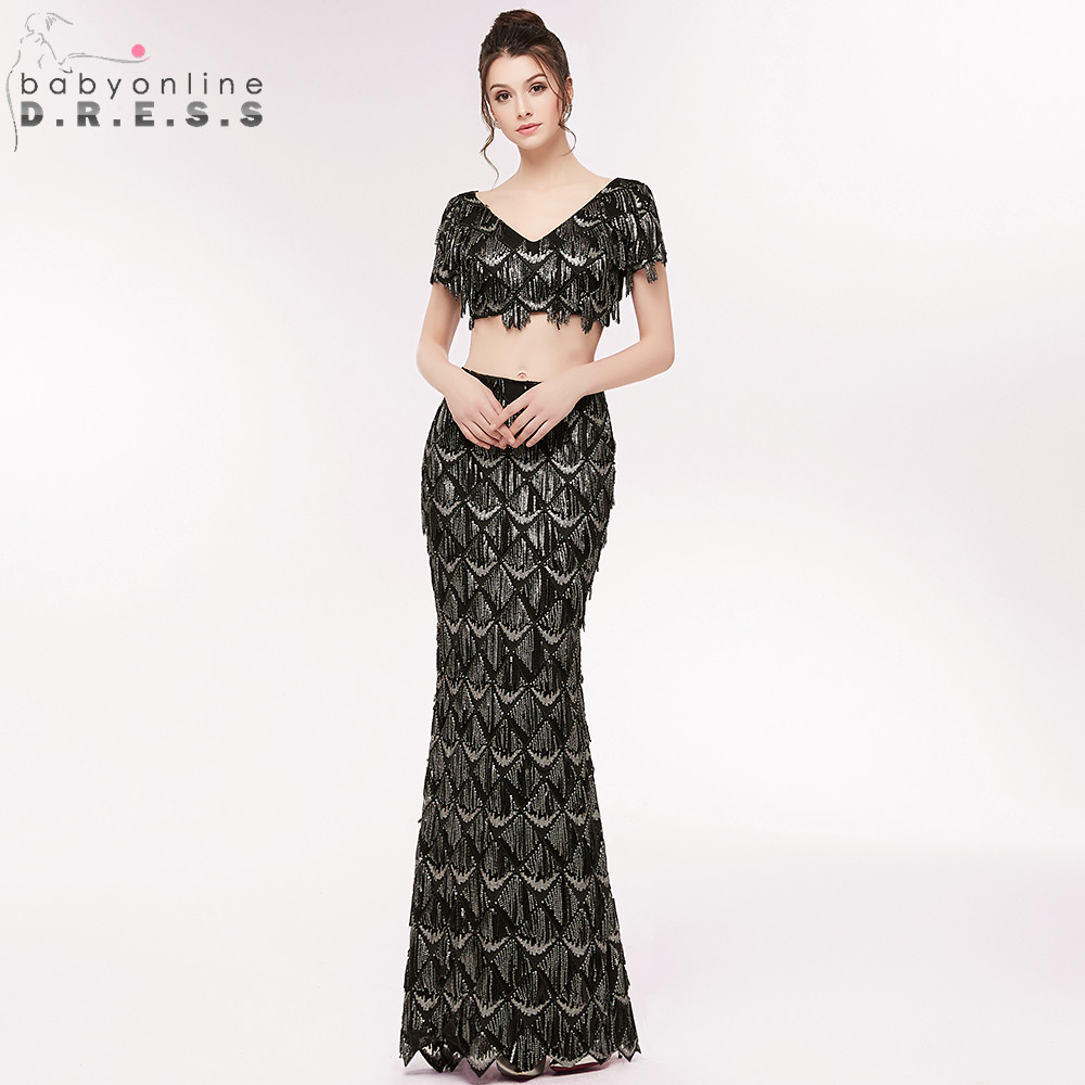 Elegant Beading Sequined Two Pieces Mermaid   Evening     Dress   V Neck Crop Top Short Sleeve   Evening   Gown Robe de Soiree Longue