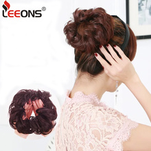 Leeons 1Pcs/2Pcs/Pack Chignon Hair New Hair Bun Donut Hairpieces For Women Scrunchie Hairpiece Synthetic Hair Padding 10Color