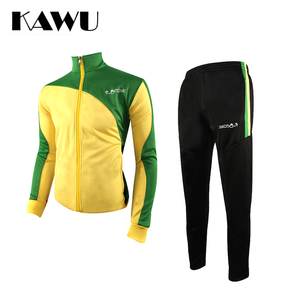 KAWU 2017 Winter Ziper Pockets Men Football Tracksuit Brazil Sport Training Suit Long Sleeve Soccer Jersey Training S17016
