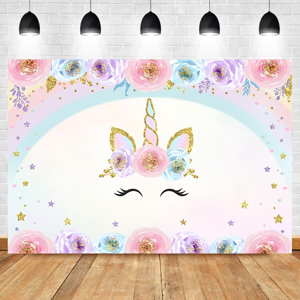 NeoBack Unicorn Photo Background Photophone Flower Rainbown Colorful Star Custom Birthday Baby Shower Photography Backdrops in Background from Consumer Electronics