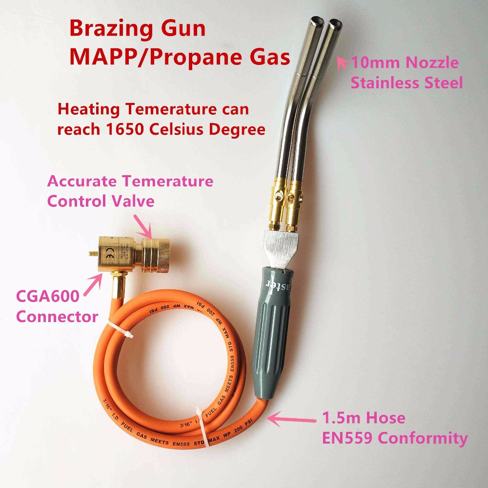 Brazing Gun Twin Pipes MAPP/Propane Gas 1.5m Hose for Brazing Soldering Welding Heating BBQ HVAC Plumbing