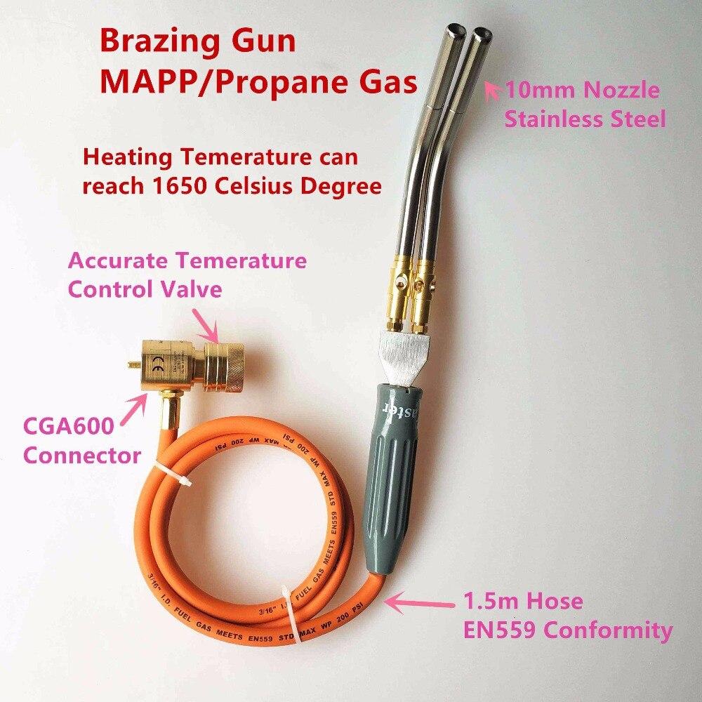Pistolet de brasage double tuyaux MAPP/gaz Propane 1.5 m tuyau pour le brasage soudage chauffage BBQ cvc plomberiePistolet de brasage double tuyaux MAPP/gaz Propane 1.5 m tuyau pour le brasage soudage chauffage BBQ cvc plomberie