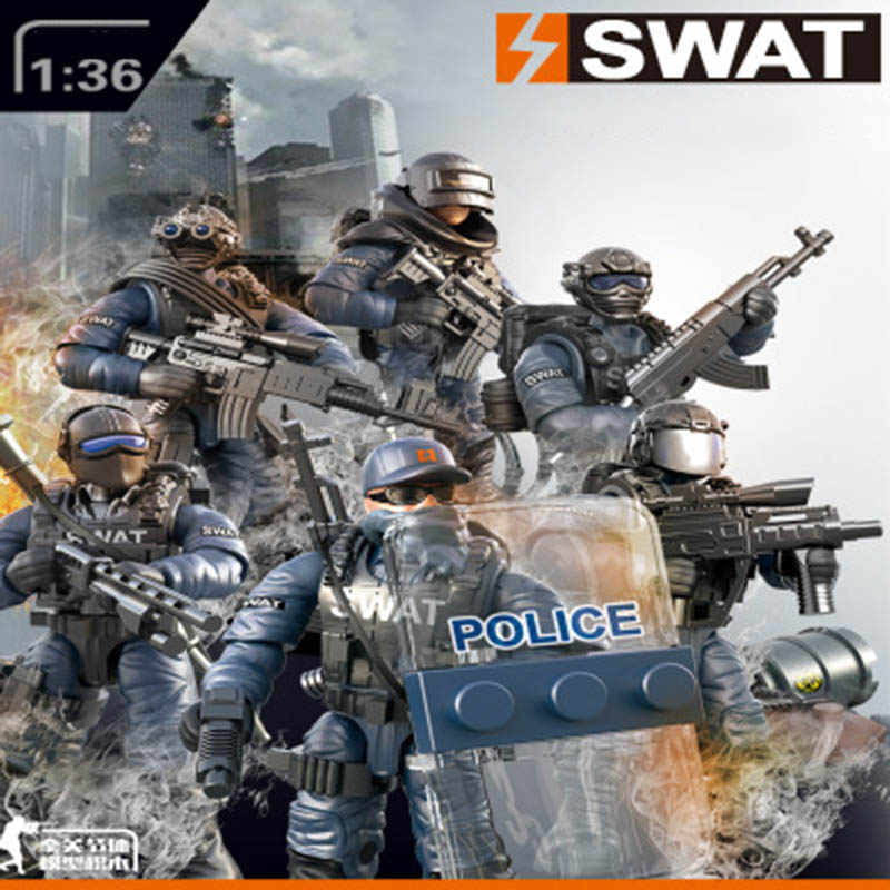 New Compatible LegoINGlys Military Lightning SWAT Special Policeman Building Blocks Educational Toys For Children Boys Gifts