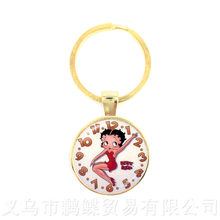 2018 New Naive And Sexy Hyperbole Betty Boop Series Pattern 25mm Round Glass Cabochon Handmade Key Chains For Glamorous Gift(China)